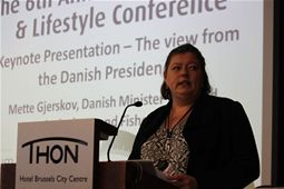 Minister Mette Gjerskov speaks on behalf of Denmark's presidency of the EU